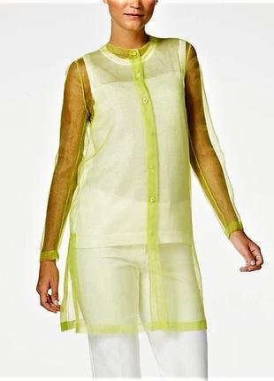 Длинная туника блуза из желтой органзы с рукавами s