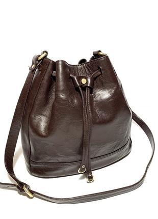 Кожаная сумка бочонок шопер massimo dutti 100% натуральная кожа