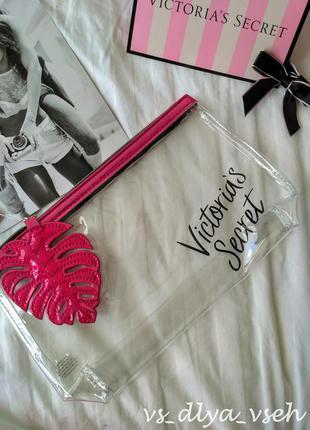 Яркая летняя косметичка palm‑zip beauty bag victoria's secret. оригинал. сша