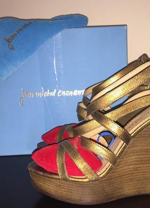 Босоножки на танкетке jean-michel cazabat кожа bronze стоили $395