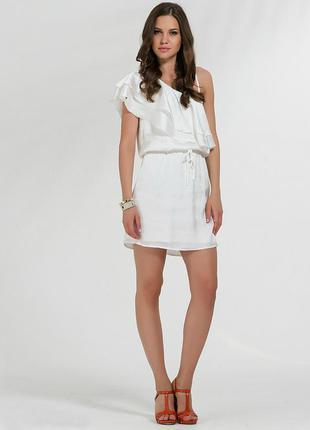 Шикарное платье сарафан под атласный шелк с воланом