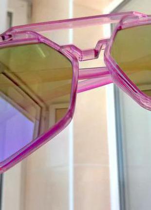 Многоугольные зеркальные солнцезащитные очки авиаторы, оправа полупрозрачная