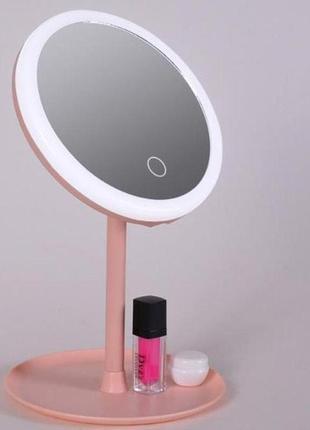 Светящееся зеркало для макияжа с led-подсветкой, со встроенным аккумулятором.