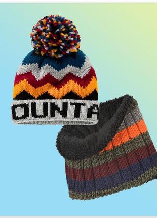 Теплая шапка хомут на флисе topolino