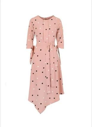 Новое пудровое, розовое платье длинное миди в горошек с поясом