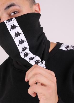 Бафф утеплённый чёрный с лампасом бело-чёрным kappa
