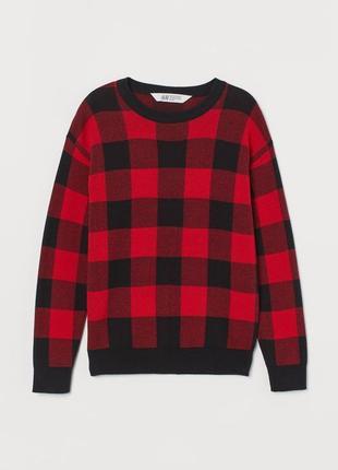 10-12/12-14 лет h&m новый фирменный натуральный джемпер свитер в клетку мальчику