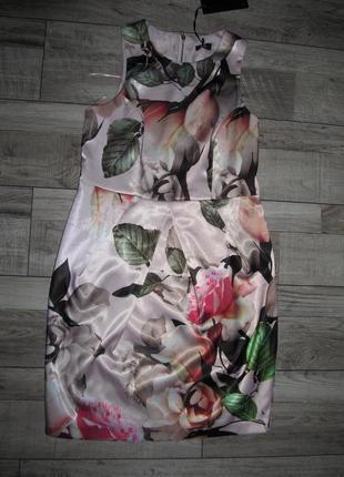 Пудровое платье с розовым принтом от f&f