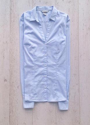 Фирменная базовая рубашка голубого цвета h&m