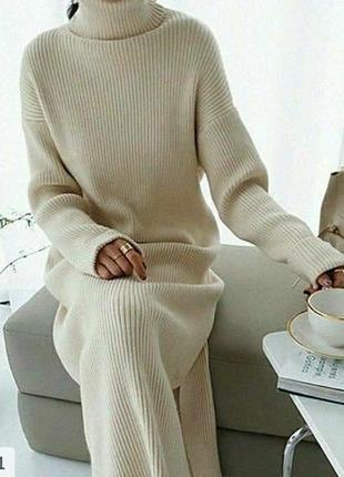 Теплое вязаное свободное платье oversize ткань трикотаж лапша