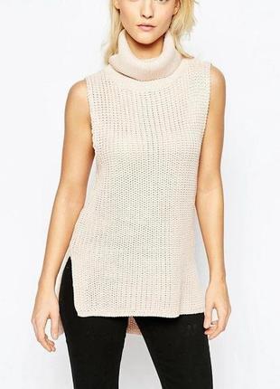 Велюровый длинный свитер-безрукавка cherry