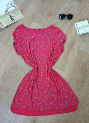 Платье туника красная с розами