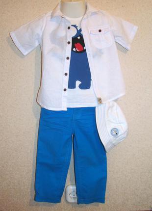 Комплект джинсы рубашка лен, кепка двухсторонняя, футболка