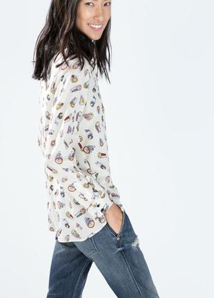 Очень классная вискозная рубашка с длинным рукавом в принт
