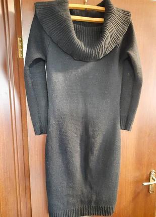 Вязаное  трикотажное шерстяное платье