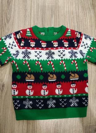Новогодний свитерок, свитер 1-1,5 года