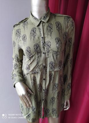 🌴🌴🍐🍸катоновая хлопковая рубаха цвета хаки принт 🐅тигр zara