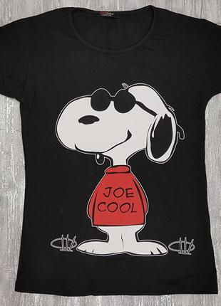 Футболка легкая летняя черная с забавной собакой на принте
