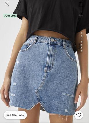 Джинсова міні спідниця юбка від pull&bear