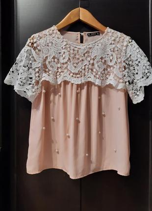 Нарядная пудровая блузка с кружевом короткий рукав размер 10-12 shein2 фото