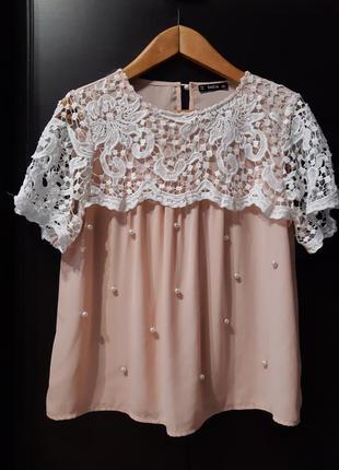 Нарядная пудровая блузка с кружевом короткий рукав размер 10-12 shein
