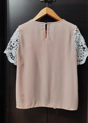 Нарядная пудровая блузка с кружевом короткий рукав размер 10-12 shein3 фото