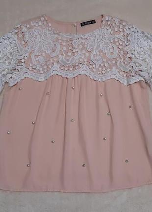 Нарядная пудровая блузка с кружевом короткий рукав размер 10-12 shein4 фото