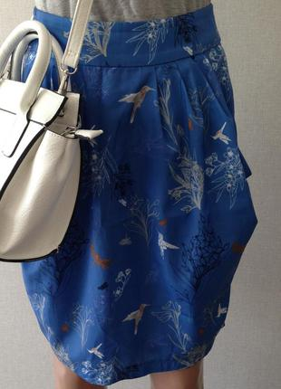 Легкая юбка с птицами