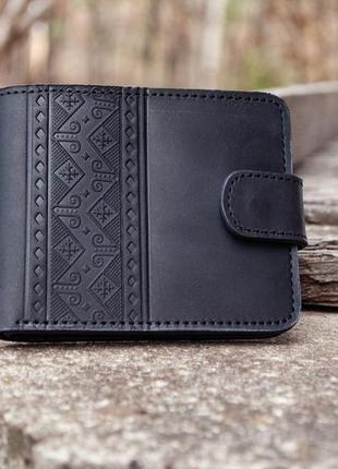9 отделений. черный кожаный кошелек мужской с тиснением