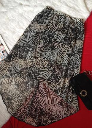 Шифоновая юбка, удлиненная сзади