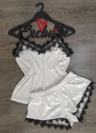 Велюровая белая пижама(049)