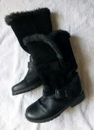 Теплые зимние кожаные замшевые черные сапоги