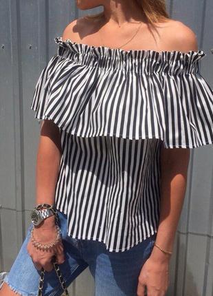 Трендовая блуза в полоску хлопок