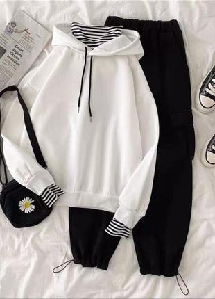 Костюм тройка оверсайз штаны худи гольф белый чёрный желтый бордовый хакки