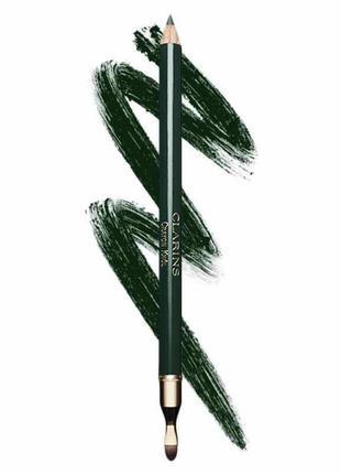 Карандаш для глаз с кистью clarins crayon khol pencil 09 intense green тестер