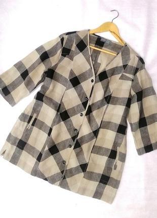 Жакет блузка натуральный лен клетка карманы