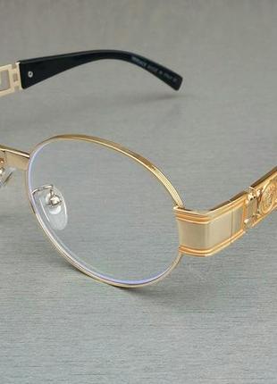 Versace очки унисекс имиджевые в золотой металлической оправе