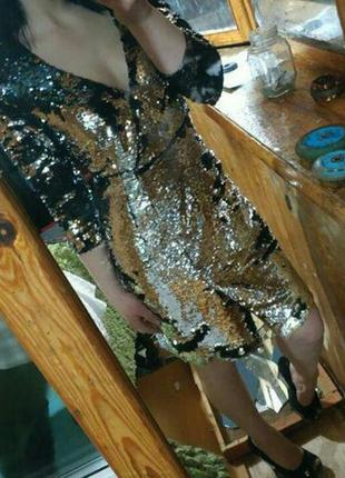 Люксовое двухсторонее платье в паетки серебро/черные