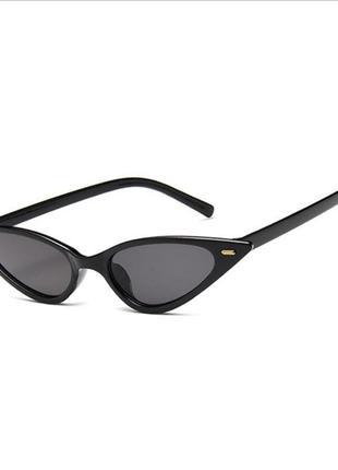 Солнцезащитные очки кошачий глаз ретро чёрные панк рок