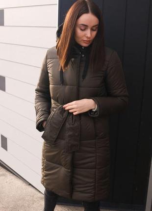 Женская зимняя куртка темно-зелёная