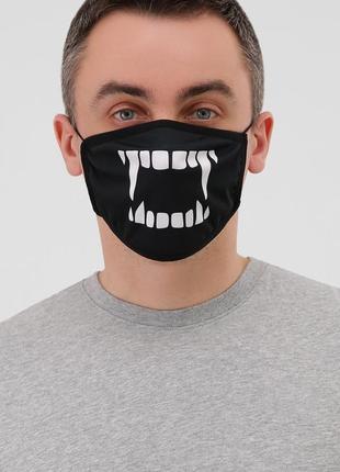 Маска черная  с зубами защитная многоразовая тканевая для лица