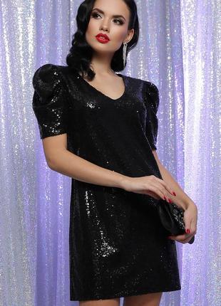 Модное платье черное блестящее с паетками на корпоратив