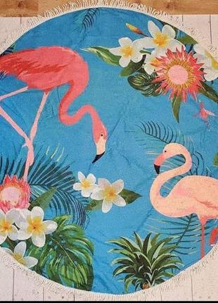 Яркое 🏄♀️🏖🏝 пляжное полотенце фламинго