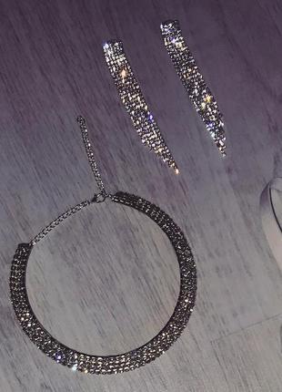 Роскошный набор камни  чокер колье ожерелье