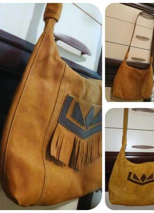 Винтажная ретро сумка из оленьей кожи
