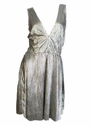 Красивое нарядное,вечернее серебряное платье от h&m