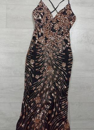 Чёрное платье в золотые паетки вечернее выпускное