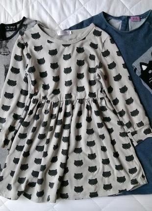Платья для девочки 3-6 лет кошки h@m.