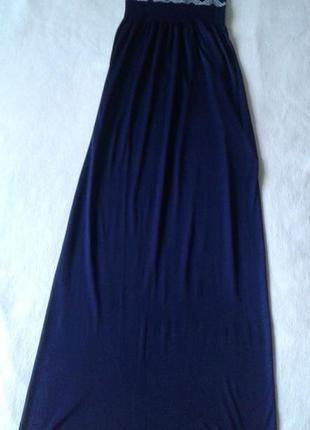 Длинное тёмно-синее платье/сарафан