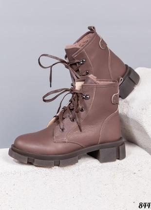 Зимние ботинки натуральная кожа внутренний утеплитель - набивная шерсть код 8441